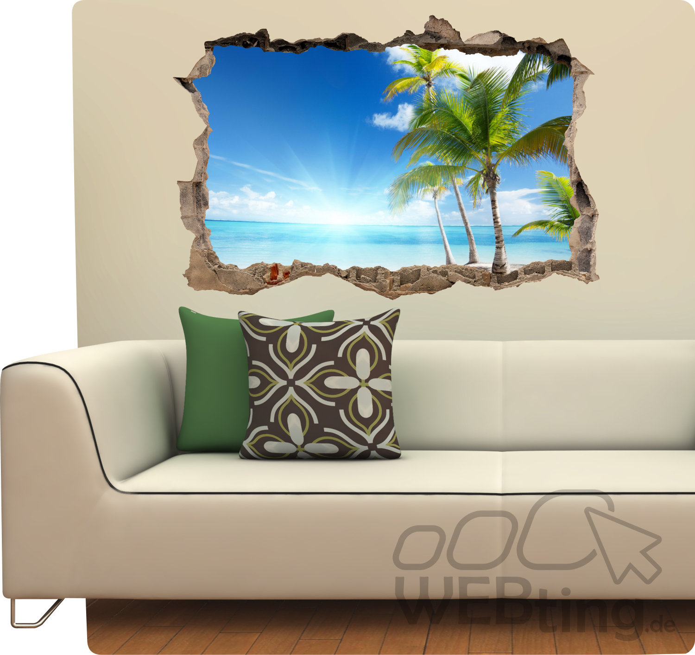wandaufkleber palme strand aufkleber wandtattoo durchbruch mauer loch. Black Bedroom Furniture Sets. Home Design Ideas