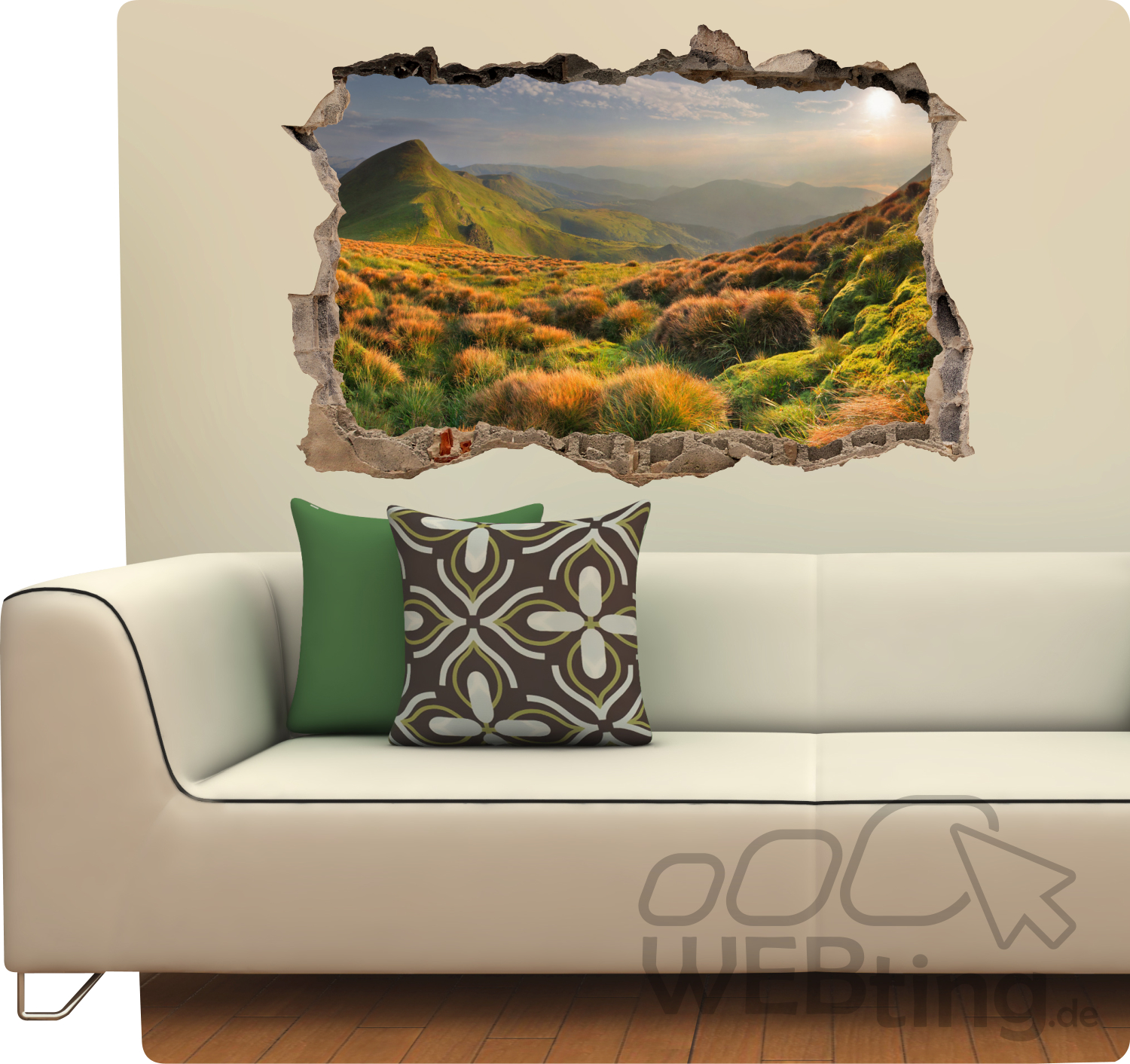 mauerdurchbruch wiese berge aufkleber wandtattoo sticker fototapete kleber. Black Bedroom Furniture Sets. Home Design Ideas