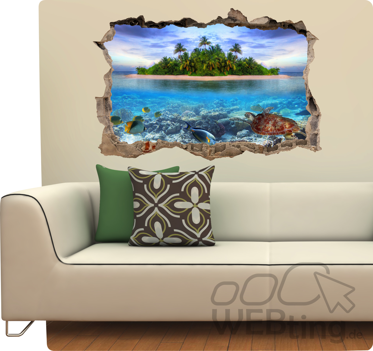 mauerdurchbruch insel sand aufkleber wandtattoo sticker fototapete kleber. Black Bedroom Furniture Sets. Home Design Ideas