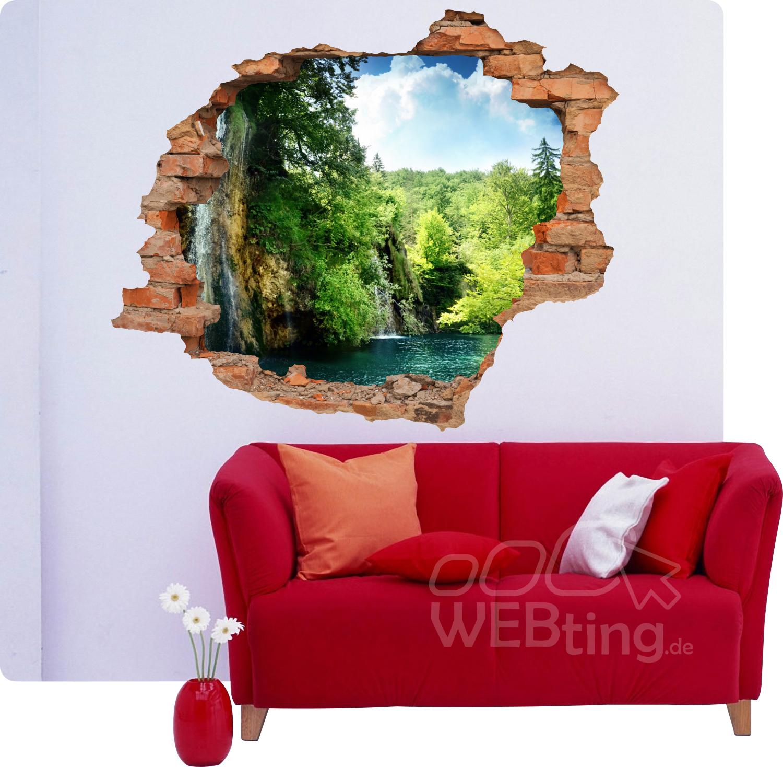 Endearing Wand Durchbruch Collection Of Wanddurchbruch |wasserfall Wald| Aufkleber Wandtattoo Mauerdurchbruch Sticker