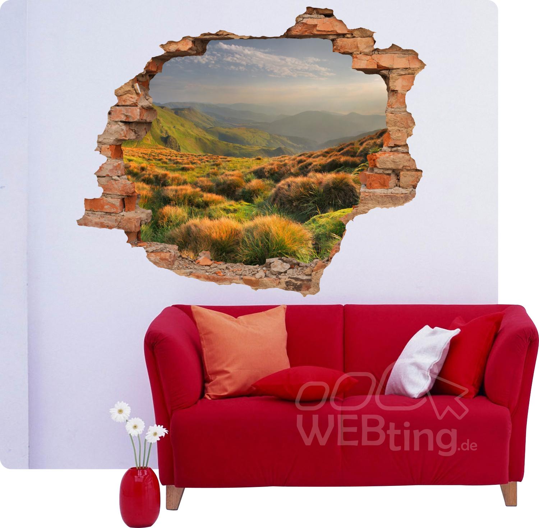 Unglaublich Durchbruch Wand Galerie Von 3d Wandbild |landschaft Berg| Aufkleber Wandtattoo Wanddurchbruch