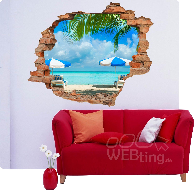 3d wandbild strand sand aufkleber wandtattoo wanddurchbruch sticker deko. Black Bedroom Furniture Sets. Home Design Ideas