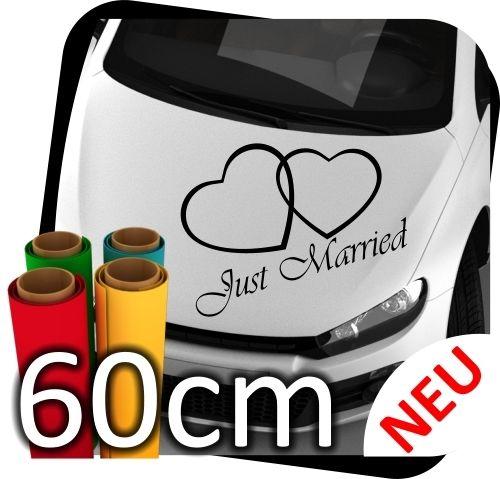 60cm-Just-Married-Hochzeit-Heiraten-Herz-Autoaufkleber-Aufkleber-Sticker-No4-170785898730