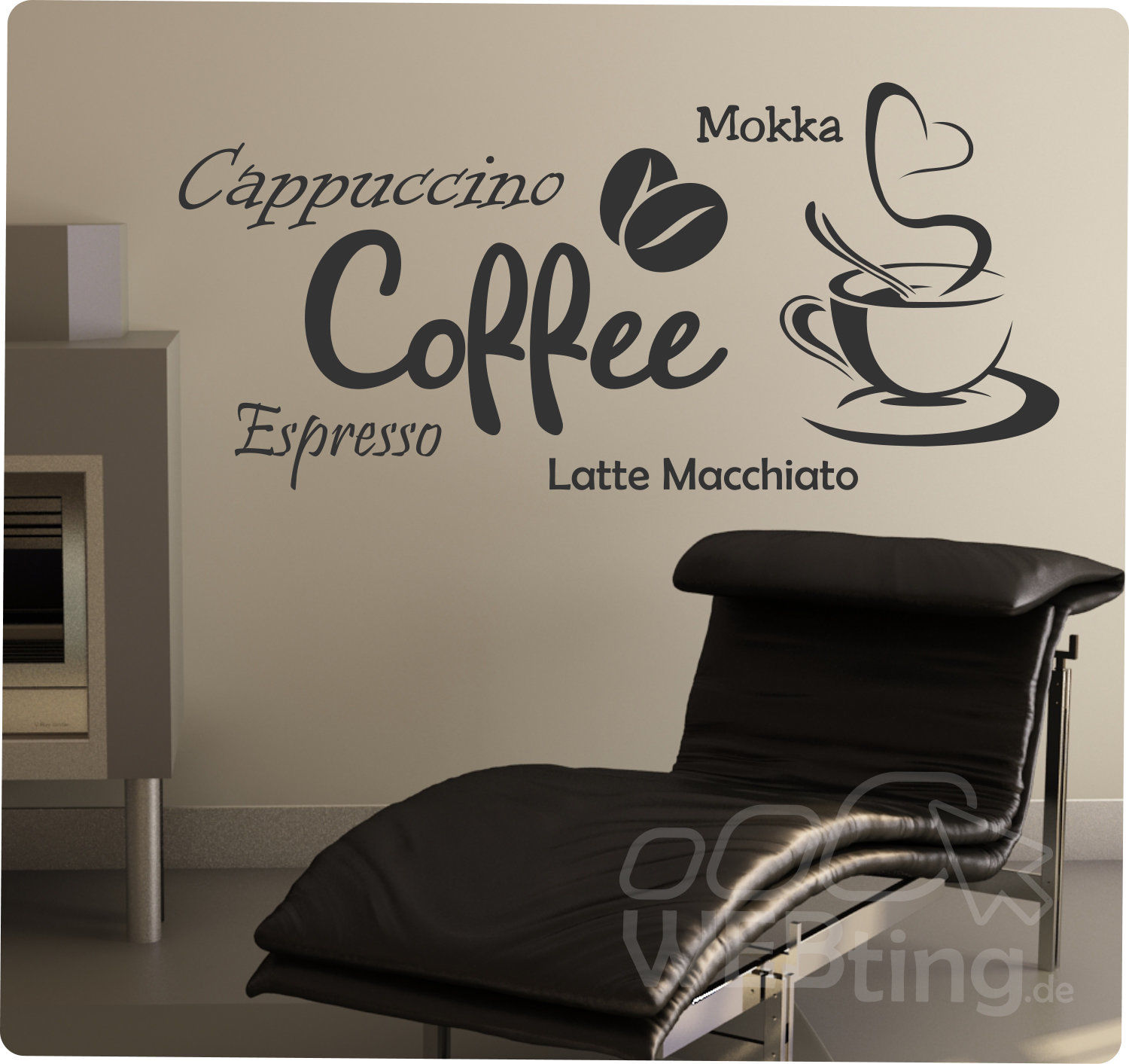 coffee kaffee wandaufkleber aufkleber k che sticker wandtattoo tattoo. Black Bedroom Furniture Sets. Home Design Ideas