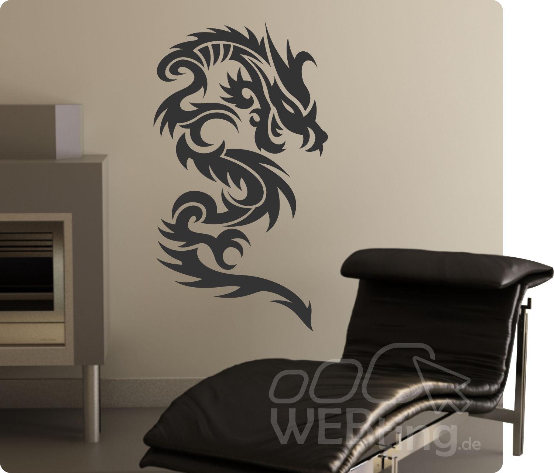 Dragon drache wandtattoo wandfolie wandaufkleber aufkleber for Selbstklebende wandfolie shop