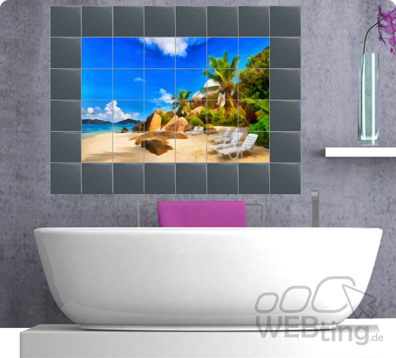 fliesenaufkleber fliesenbild fliesen aufkleber sticker badezimmer strand gem lde. Black Bedroom Furniture Sets. Home Design Ideas