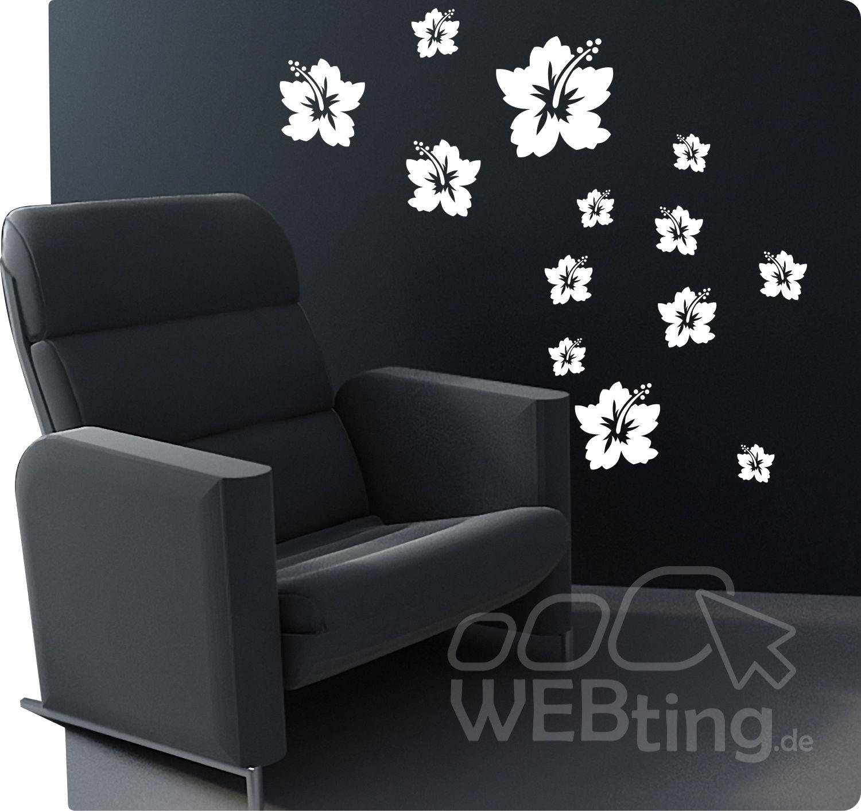 hibiskus wandtattoo wandaufkleber aufkleber deko sticker hibiskus ranke fenster. Black Bedroom Furniture Sets. Home Design Ideas