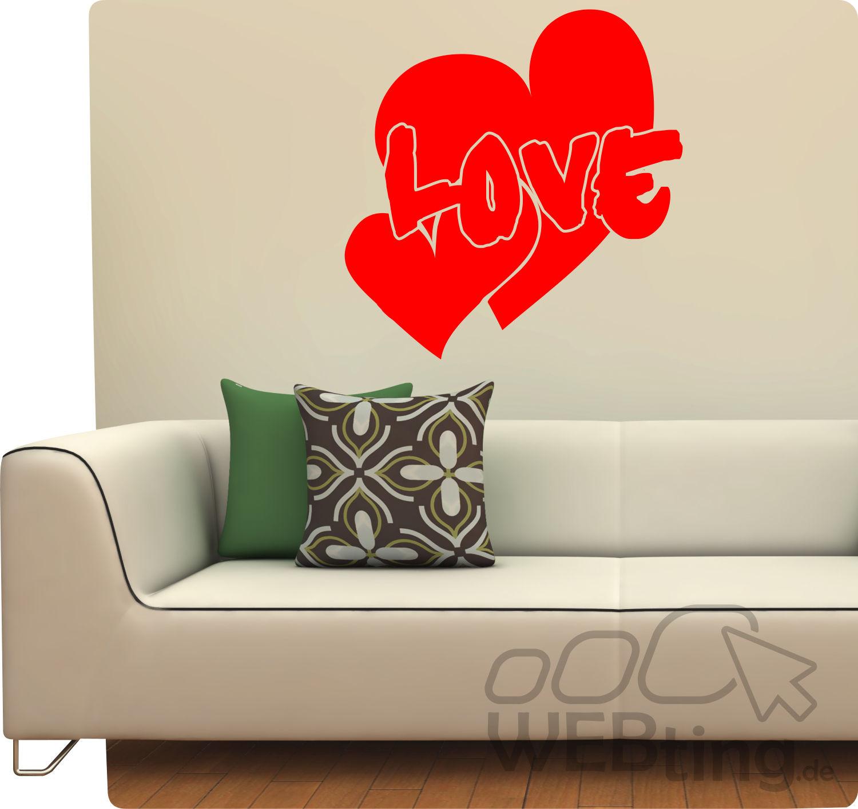 Valentinstag Liebe Love Herz Wandtattoo Wandaufkleber Aufkleber ...