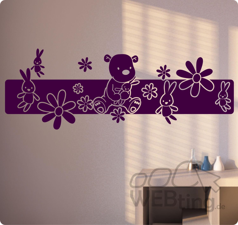 XXL Wandtattoo Blumen Ranke Wandaufkleber Aufkleber Kinderzimmer Teddy Baby  Kind