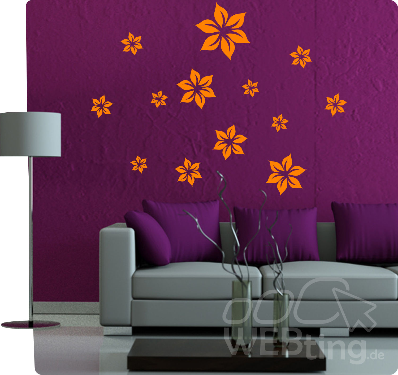 Blume wandtattoo wandaufkleber aufkleber deko set - Deko wandtattoo ...