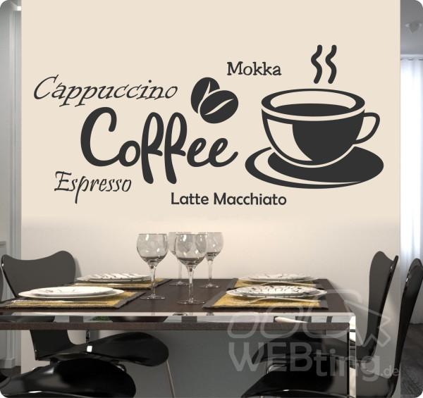 Coffee kaffee wandaufkleber aufkleber k che sticker for Table no 21 tattoo