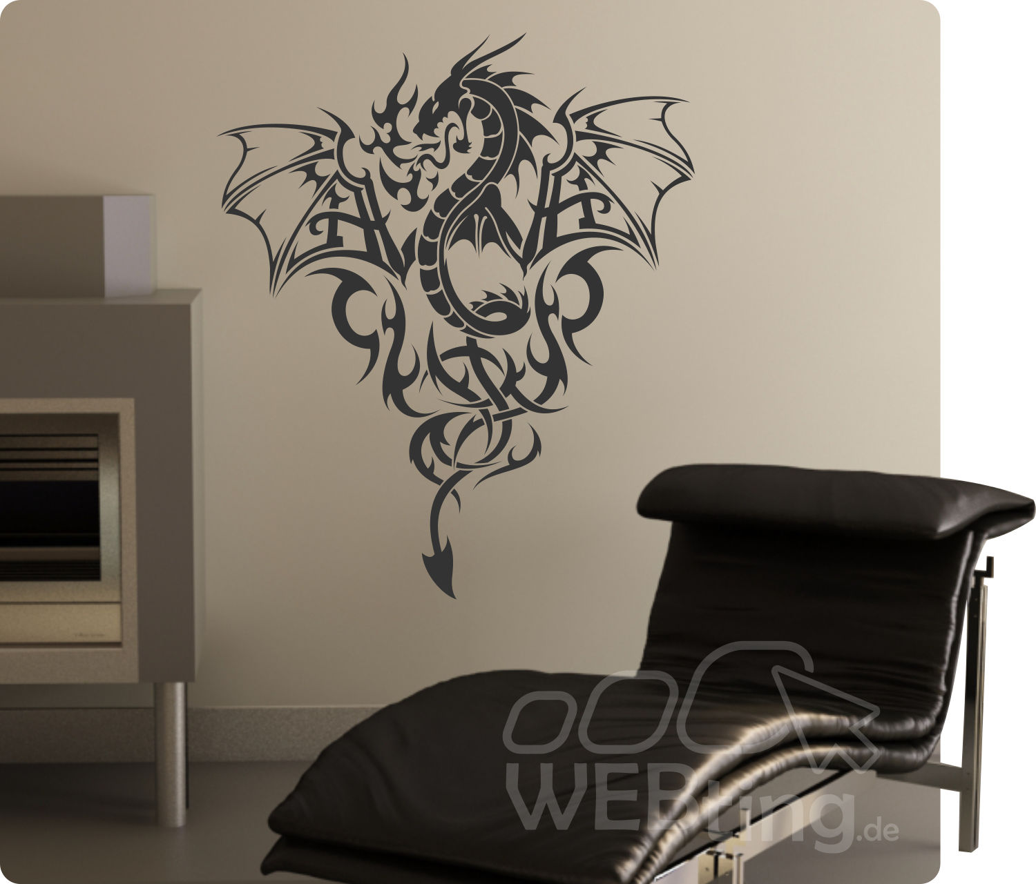 dragon drache wandtattoo wandfolie wandaufkleber aufkleber. Black Bedroom Furniture Sets. Home Design Ideas
