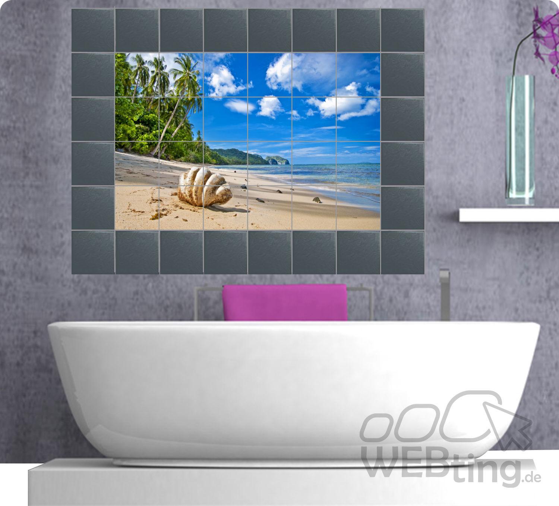 Fliesenaufkleber fliesenbild fliesen aufkleber sticker badezimmer bad meer Badezimmer dekoration meer