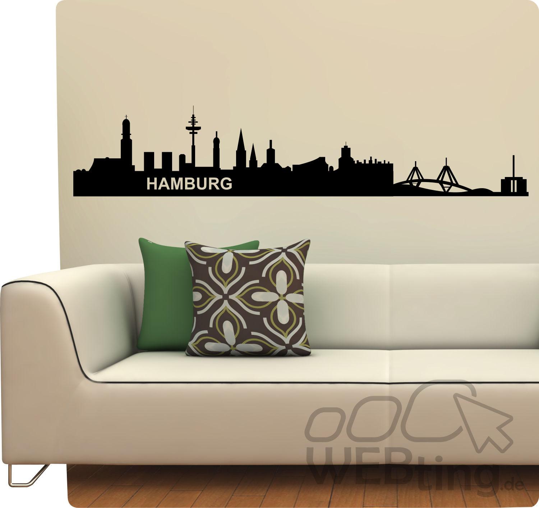 l wandtattoo skyline hamburg wandaufkleber aufkleber. Black Bedroom Furniture Sets. Home Design Ideas