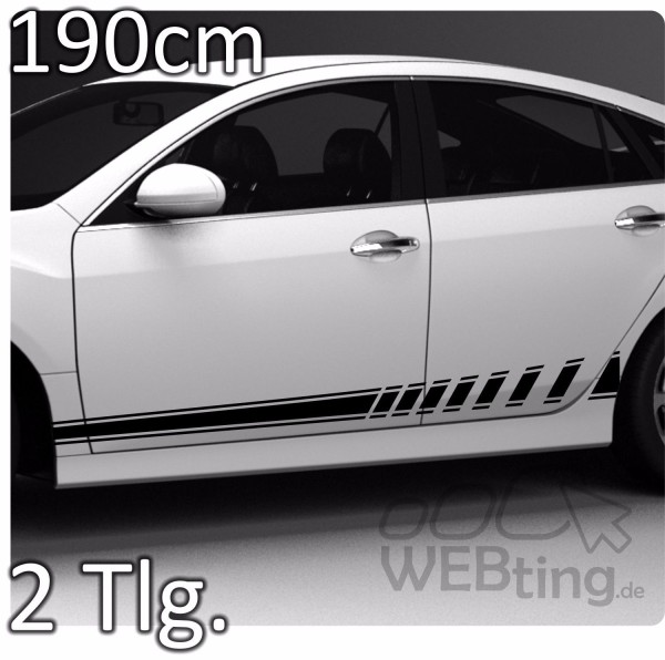 190cm-Stripe-Rally-Autoaufkleber-Seitenaufkleber-Streifen-Aufkleber-Racing-No52-171823259732