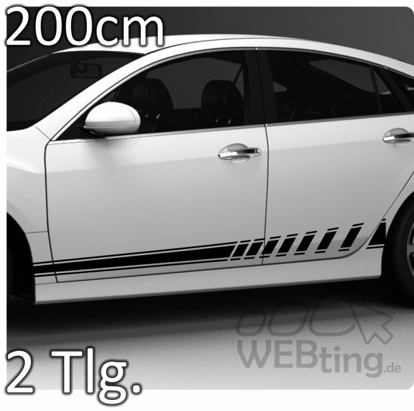 200cm-Stripe-Rally-Autoaufkleber-Seitenaufkleber-Streifen-Aufkleber-Racing-No52-181772192882