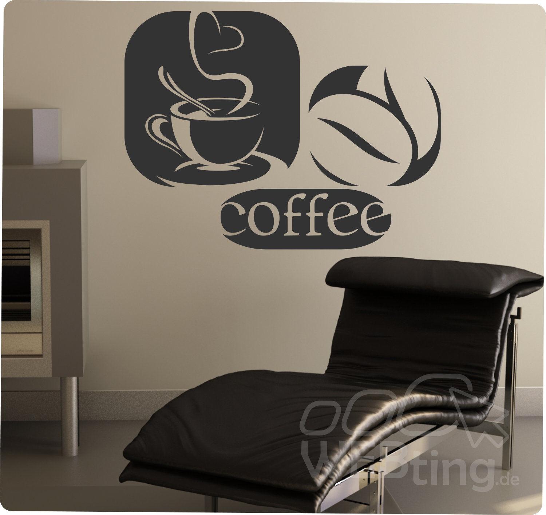 Coffee Kaffee Wandaufkleber Aufkleber Küche Sticker Wandtattoo ...