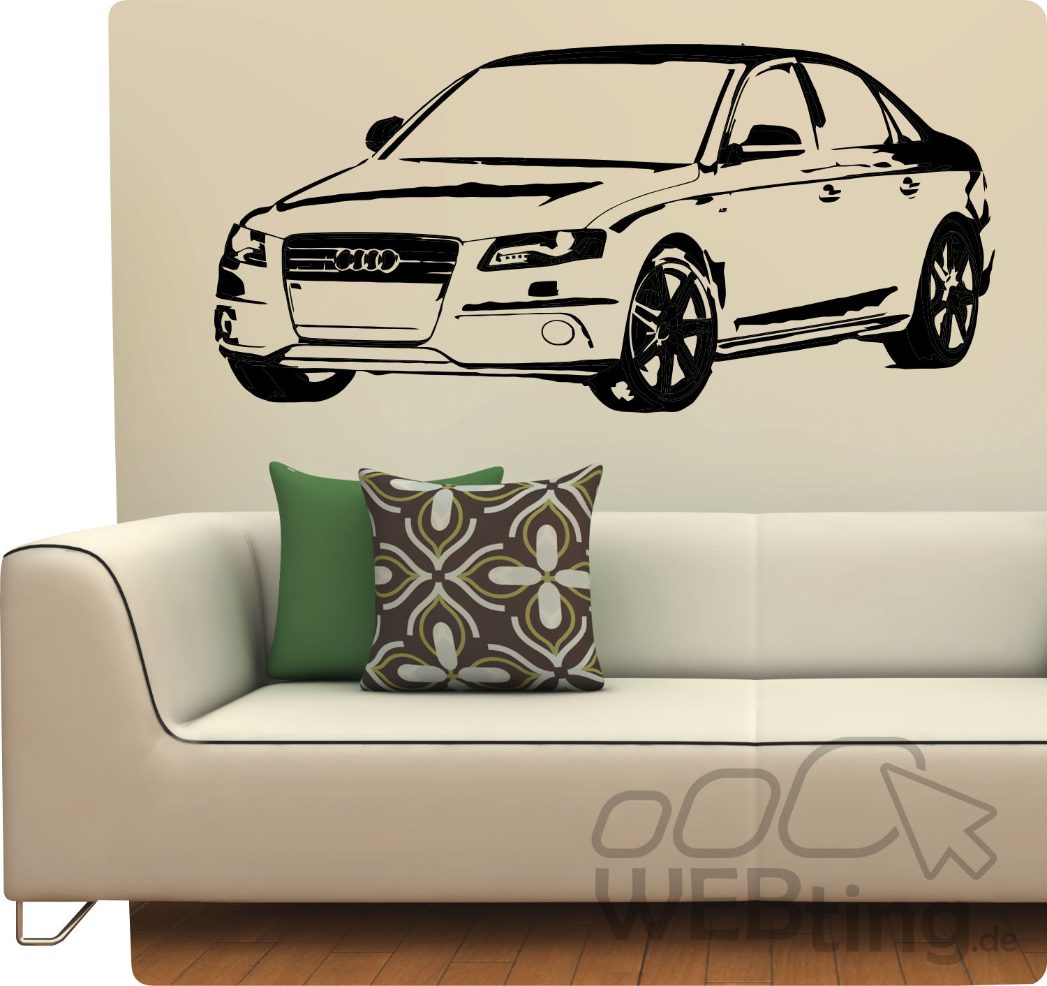 wandtattoo audi a3 auto s line a4 wandaufkleber motorsport. Black Bedroom Furniture Sets. Home Design Ideas