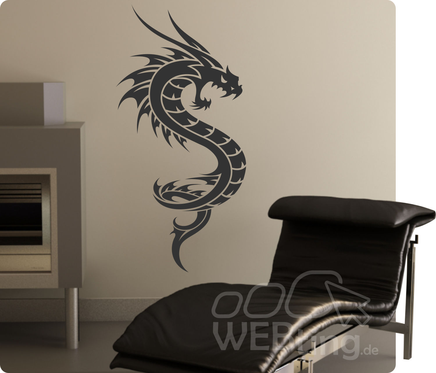 dragon drachen wandtattoo wandfolie wandaufkleber aufkleber tattoo tribal wand 1. Black Bedroom Furniture Sets. Home Design Ideas