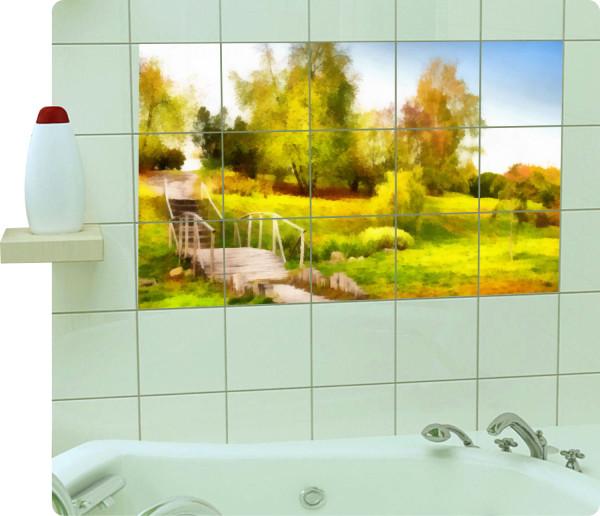 fliesenaufkleber fliesenbild fliesen aufkleber sticker badezimmer kunst bad. Black Bedroom Furniture Sets. Home Design Ideas