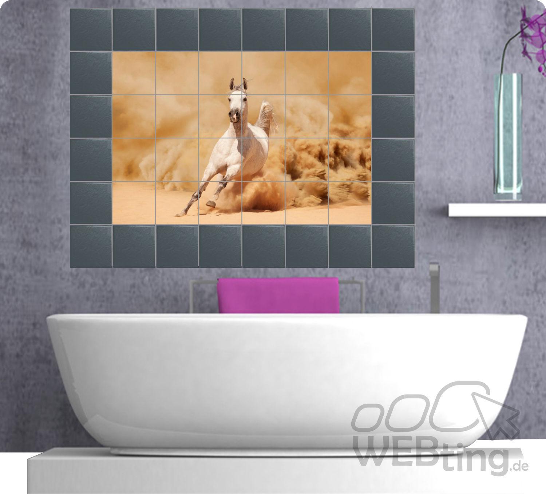 fliesenaufkleber fliesenbild fliesen aufkleber sticker badezimmer pferd afrika. Black Bedroom Furniture Sets. Home Design Ideas