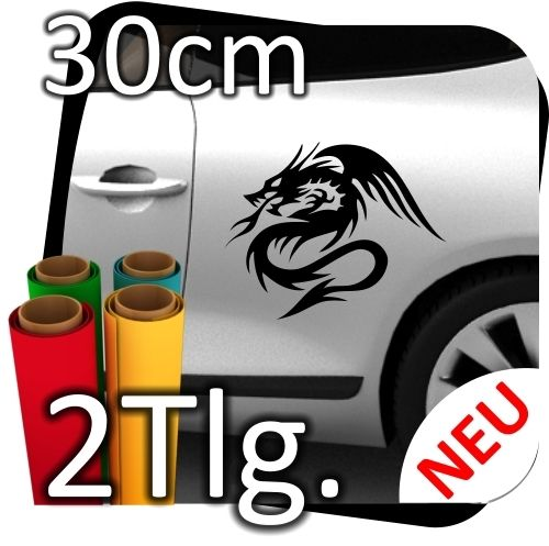 2x-L-Auto-Autoaufkleber-Drachen-Dragon-Drache-Tribal-Aufkleber-Sticker-2-Tlg-180764956186