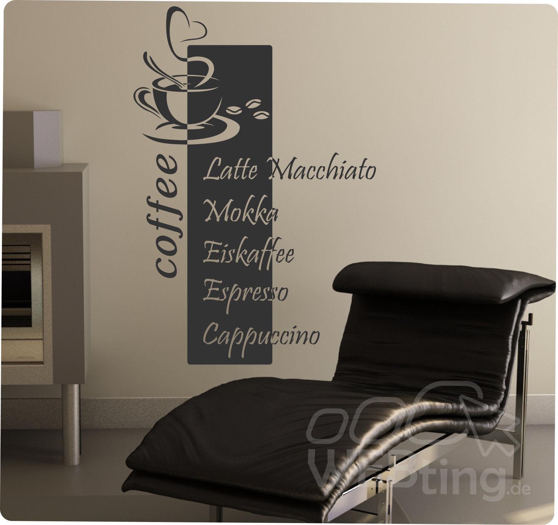 coffee kaffee wandaufkleber aufkleber k che sticker wandtattoo tattoo spruch. Black Bedroom Furniture Sets. Home Design Ideas