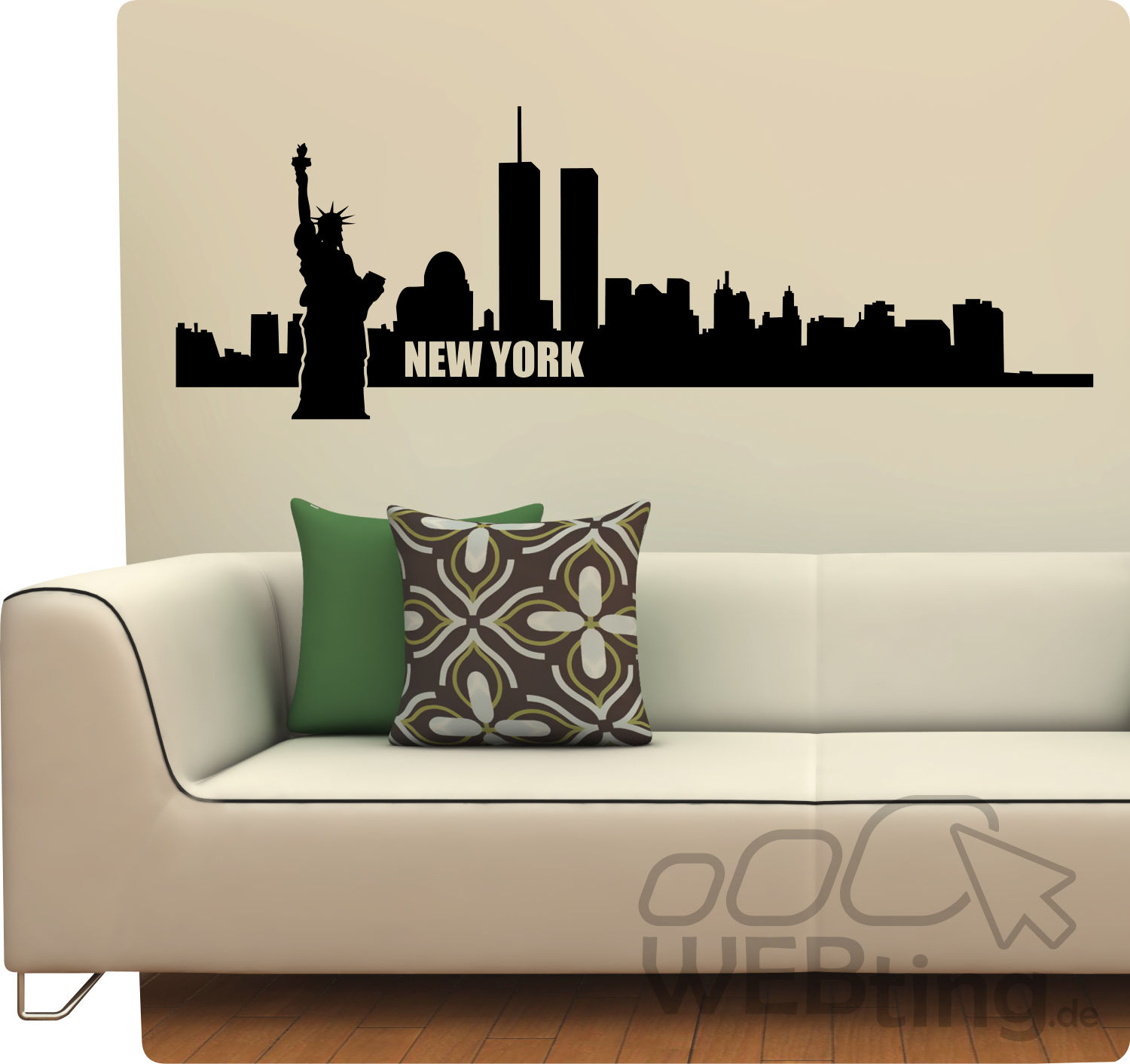 xxl wandtattoo skyline new york usa wandaufkleber. Black Bedroom Furniture Sets. Home Design Ideas