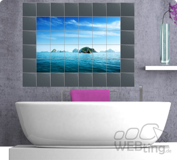fliesenaufkleber fliesenbild fliesen aufkleber kachel badezimmer bad k che deko. Black Bedroom Furniture Sets. Home Design Ideas
