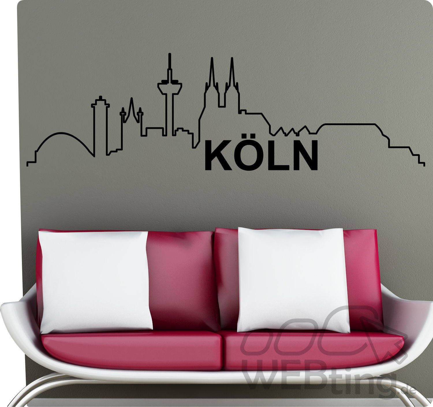 xxl wandtattoo skyline k ln wandaufkleber aufkleber. Black Bedroom Furniture Sets. Home Design Ideas
