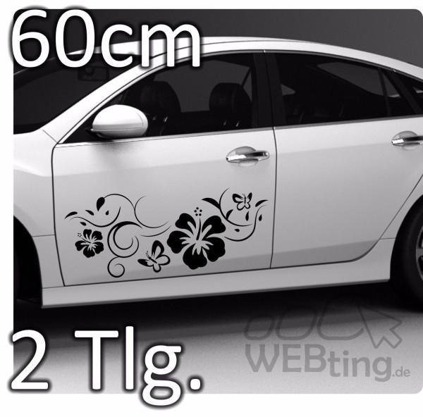 Schmetterling-Hibiskus-Autoaufkleber-Aufkleber-Ranke-Sticker-Seitenaufkleber-JDM-180568979529