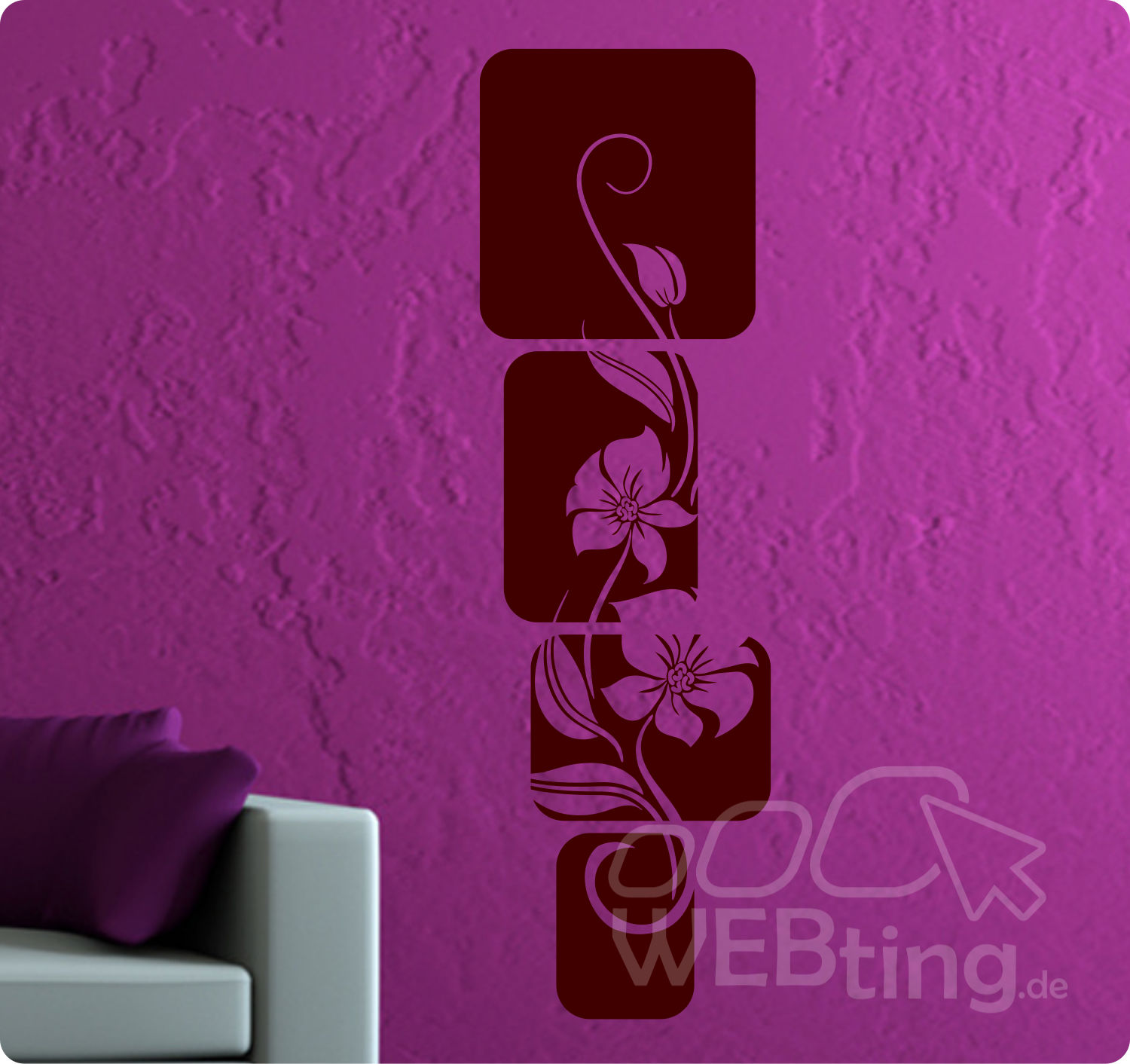 xxl wandtattoo banner blumen ranke wandaufkleber aufkleber streifen deko. Black Bedroom Furniture Sets. Home Design Ideas